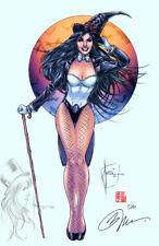 Billy Tucci SIGNED Remarqued JLA DC Comic Art Print w/ Original Sketch ~ Zatanna