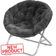 Oversized Moon Chair Seat Stool Saucer Soft Folding Home Living Room Sofa Black