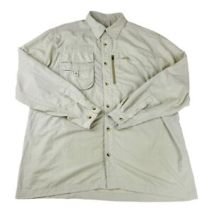 Natural Gear Mens Button Front Fishing Shirt Beige Long Sleeve Pockets Vented L