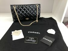 Stunning rare Chanel 2.55 flap reissue med 226 aged black patent leather GHW