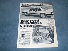 "1987 Ford Mustang LX 5-Liter Vintage Info Article ""Most Poop for your Loot"" 5.0L"