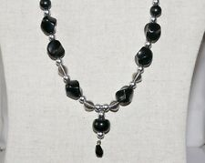 HANDCRAFTED BLACK ACRYLIC AND GREY SHELL PEARL NECKLACE WITH FREE P&P NK 85