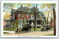 Bay City Michigan~samaritan Hospital~Nurse on Porch~Passengers in Cars~1920s