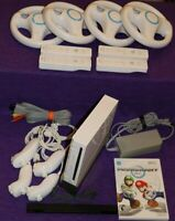 Nintendo Wii Console RVL-001 4-Player Mario Kart Bundle 4 Controllers 4 Wheels