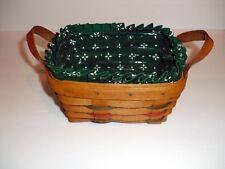 Longaberger 1995 Woven Traditions Tea Basket, Heritage Green Liner & Protectorr