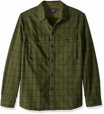 French Connection Men's Flannel Stripe Button Down Shirt Midnight Moss/Utility S