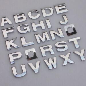 A-Z Alphabet Letters Car Stickers Self Adhesive Auto Badge Emblem 3D Chrome 25mm