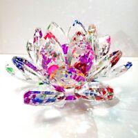 "3"" High Quality Rainbow Crystal Lotus Flower with Gift Box USA Seller"
