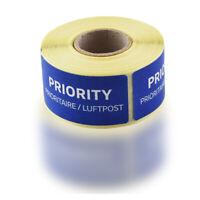 100er Rolle originale blaue Luftpost Priority Prioritaire Aufkleber Sticker Post