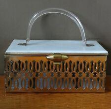 vintage 1950s USA PAMART lucite pierced gold tone box bag purse mirror bridal