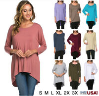 Women Basic 3/4 Sleeve High Low Solid Round Neck Tunic Dolman Top Tee Shirt USA