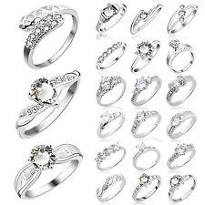 50Style Damen 925 Sterlingsilber Kristall Braut Ehering Verlobungsring Schmuck