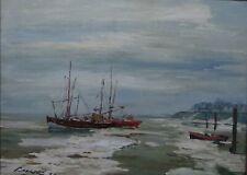 Paul Ernst WILKE (1894-1972) Boote am Ufer im Winter RG 70 x 90 cm (293-12021)