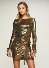 b93f623ab36cc5 Miss Selfridge Metallic Roxy Ruched Bodycon Dress Gold Size UK 10 Dh181 SS  03