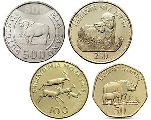 TANZANIA 4 COINS SET FAUNA  ANIMALS LION RHINO BUFFALO 2014 2015 UNC