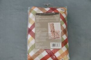 Autumn Gingham Dining Room Chair Cover Holiday Thanksgiving Fall Décor