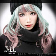 lolita anime cosplay Mint chocolate raisin pink highlight wavy wig bang JPLH070