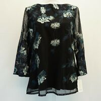 Charter Club Womens Mesh Top 3/4 Sleeves Embroidered Floral Shirt Black $89