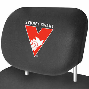 OFFICIAL AFL Sydney Swans Car Headrest Covers - 2 x Covers - NEW