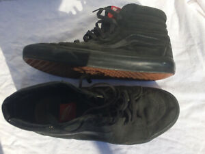 Vintage Vans Hi Tops Used All Black Leather Suede Mens SZ 10 Old School