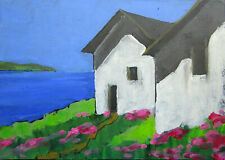 New ListingOriginal California North Coast Cottages 5x7 Oil Painting Lynne French Art