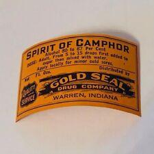 Pharmacy label ephemera WW1 drugstore WWI Warren Indiana IN Camphor gold seal us