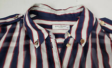 Equipment Femme Blue White Red Striped Silk Button Down Blouse Size Small