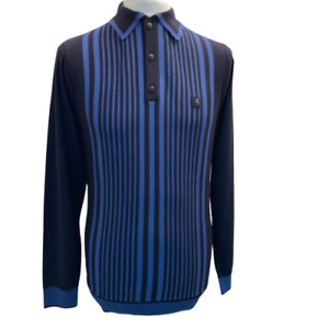 Gabicci Vintage Strand,V45GM07,Navy Knitted Polo,L/S,Mod,60s,70s,Retro,SALE