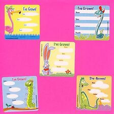 10 Animal I've Grown Height and Weight  Large Stickers - Dinosaur, Snake, Rabbit