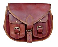 Women Satchel Cross body Shoulder Bag Natural Leather Tote Handbag Purse Brown