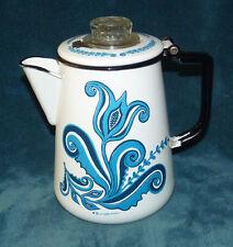 VERY NICE ANTIQUE/VINTAGE WHITE ENAMELWARE COFFEE POT W/BLUE DESIGN!