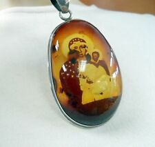 AMBER NECKLACE ANTIQUE PENDANT BALTIC AMBER STERLING SILVER RELIGIOUS PENDANT