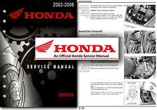 Honda CRF450R 2002 to 2006 Service Manual CRF 450 R CRF450 Workshop Repair Shop