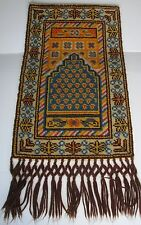 Vtg Old Wall Hanging Tapestry Thick Carpet Rug Long Tassels Knotted Woven 24x52""