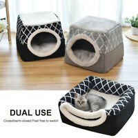 Pet Cat Dog Nest Bed Puppy Warm Cave House Winter Igloos Basket Kennel Mat Soft