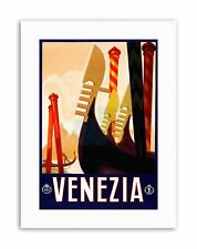 VENICE ITALY GONDOLA CANAL Poster Vintage Advertising Travel Canvas art Prints