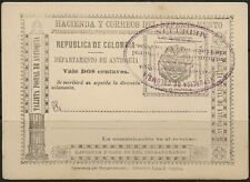 STAMPS-ANTIOQUIA. 1902. 2c Postal Stationery Postcard. Used-Cancelled to Order