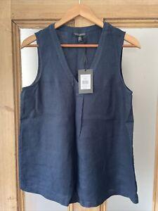 White Company Ladies Navy Linen Top Size 12 BNWT