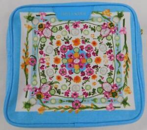 Estee Lauder Light Blue Fruit Flower Cosmetic Bag Makeup Case New