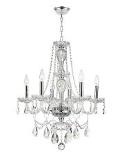 """6-Light Chrome Finish 23"""" x 31"""" Thor Clear Crystal Candle Chandelier Light"""