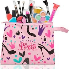 Makeup Toy Kit 12Pc Pretend Play Little Princess Cosmetic Bag Non Toxic Washable