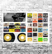 """SPLENDIDA CASSETTA Retrò NASTRI TELA collage #2 qualità Incorniciato Wall Art 30""""X20"""""""