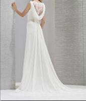 Neige dentelle mousseline de soie blanche robe de soirée de mariage longue new