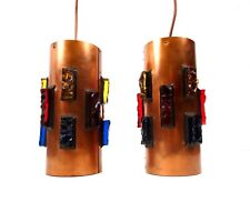 STUNNING PAIR MID CENTURY MODERN HANGING CEILING LAMPS BY RAAK 1970 GLASS STONES