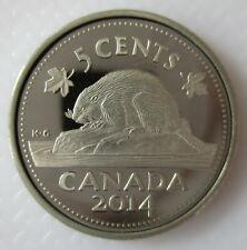 CANADA 2014 5 CENTS PROOF NICKEL HEAVY CAMEO COIN