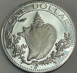 BAHAMAS - Conch Silver Dollar - 1974 - PROOF Large Silver Coin