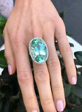 Green Tourmaline Stone Sterling 925 Silver Engagement Ring Oval Cut 41.85 Carat