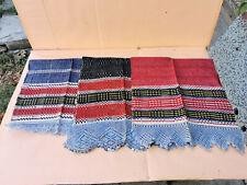 OLD ANTIQUES PRIMITIVE HAND WOOVEN HOMESPUN TOWELS LACE COTTON - LOT OT 3