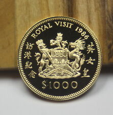 LQQK!!! 1986 Hong Kong $1000 Gold Coin Royal Visit