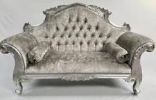 CHARLES LOUIS CUDDLER LOVE SEAT CHAISE SOFA SILVER  CRYSTALS MERCURY VELVET
